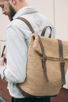 Crochet Roll Top Backpack Jute & Leather Backpack for Men image 1 Crochet Handbags, Crochet Bags, Leather Backpack For Men, Leather Bags, Top Backpacks, Leather Backpacks, Crochet Backpack, Crochet Market Bag, Diy Bags Purses
