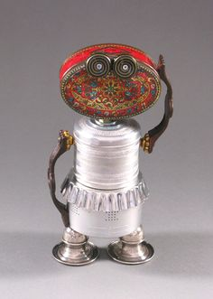 Found Object ROBOT SCULPTURE  Betty B Bot by CastOfCharacters23, $135.00 Materials: tin can, tart mold, coffee pot part, decorative metal container, drawer handles, parts of a candelabra, buttons, bottle caps