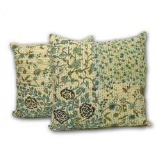 Handmade Floral Print Kantha Pillow Cover