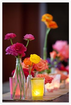 pink, orange, yellow and red flowers
