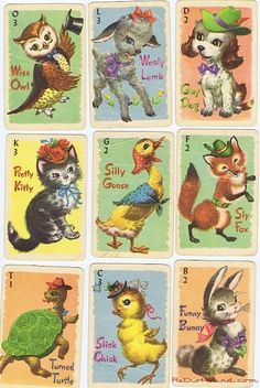 Retro Old Maid with cute animals, I had these as a kid