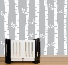 Nursery wall decals white birch trees wall decal by couturedecals, $129.00