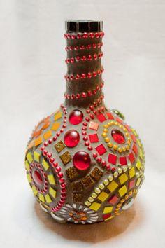 Handmade glass mosaic bottle ornament by Tegoland on Etsy, Mosaic Crafts, Mosaic Art, Mosaic Glass, Mosaic Bottles, Glass Bottles, Craft Corner, Pottery Designs, Creative Ideas, Jars