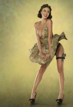 Beautiful women in true old school pin-up girl style shots, paired with modern weaponry is truly a sight to behold and a perfect fit for any garage or man cave.