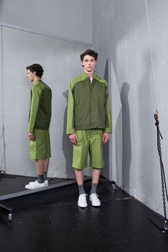 """This summer MEI KAWA came up with a completely different tone than before but with a collection that is still very typical of the brand. The designer unfolds the concept: the """"less in sometimes more"""", dynamism and the. Olive Jacket, Angkor, Spring Summer 2015, Mens Fitness, Fitness Fashion, Military Jacket, Normcore, Menswear, Street Style"""