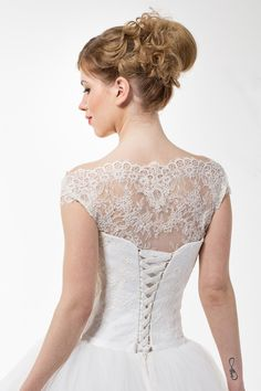 Romantic Light-As-Air Ball Wedding Gown with Chantilly Lace Corset, Illusion Off Shoulder Neckline, Closed Lace Back and Tulle Skirt by TashaMertene on Etsy https://www.etsy.com/listing/288154373/romantic-light-as-air-ball-wedding-gown
