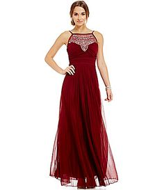 cf1ccae93ae B Darlin Jeweled Yoke Pleated Long Dress  Dillards