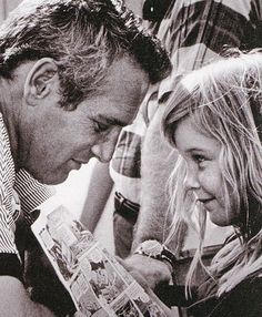 Paul Newman with daughter Nell. 1968.  He gave $200 million dollars to charity in his lifetime.  He also began Newmans Own foods which has another company Newmans Organics confounded by his daughter Nell.  Great family and great foods xoxo....  Thanks for everything Paul