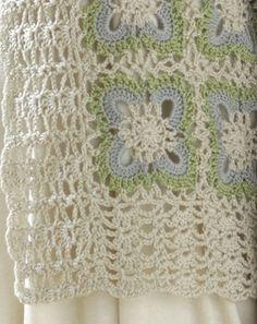 Motif shrug, lacy borders -        ♪ ♪ ... #inspiration #crochet  #knit #diy GB