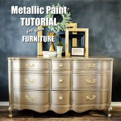 Adding metallic paint to your furniture will really bring attention in a bog way. here are a few simple steps that insure that you have a beautiful finish. Metallic Painted Furniture, Painted Bedroom Furniture, Gold Furniture, Retro Furniture, Refurbished Furniture, Colorful Furniture, Repurposed Furniture, Furniture Makeover, Furniture Design