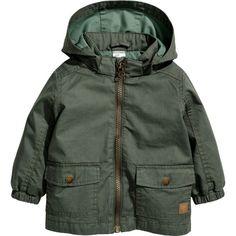 Cotton Parka $29.99 (1.685 RUB) ❤ liked on Polyvore featuring outerwear, coats, khaki green coat, green coat, khaki parkas, green parka coat and parka coat