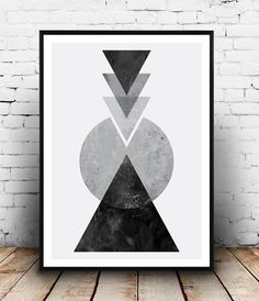 Black and white art, abstract watercolor, geometric print, tirnagles decor…