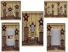 COUNTRY BARN STAR LIVE LOVE LAUGH LIGHT SWITCH PLATE
