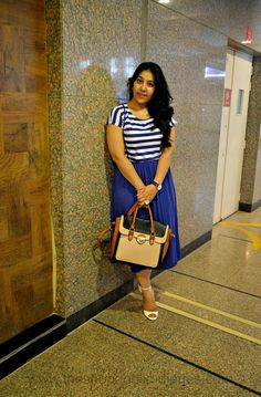 The Shopaholic Diaries - Indian Fashion, Shopping and Lifestyle Blog !: OOTD | Striped Midi Dress - Color Block Bag