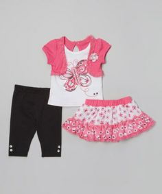 Look what I found on #zulily! Pink Butterfly Skirt Set - Infant, Toddler & Girls #zulilyfinds