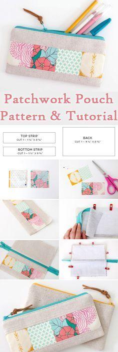 Patchwork Zipper Pouch DIY Tutorial http://www.free-tutorial.net/2017/09/patchwork-zipper-pouch-tutorial.html