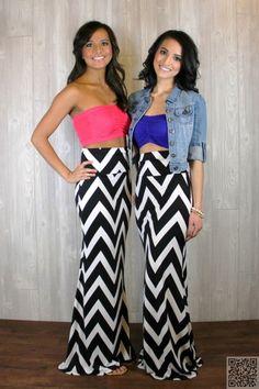 11. #Chevron Print - 13 #Sweet DIY Maxi Skirts to Sew ... → #Lifestyle #Design