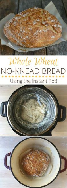 Whole Wheat No Knead Bread (Using the Instant Pot!) via @https://www.pinterest.com/rmnutrition/