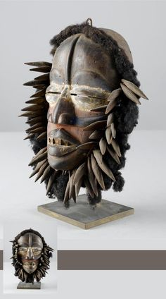Africa | Mask from the Guere people of Ivory Coast | Wood, hair, fiber and pigment
