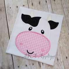 cow applique | Clarabel Cow Head Applique Embroidery Design