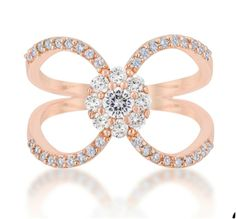 Joyce Rose Gold Delicate Floral Wrap Fashion Cocktail Ring | 1.5 Carat |Cubic Zirconia