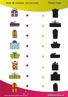 Zoek de schaduw van het kado, thema feest voor kleuters, juf Petra van kleuteridee.nl , shadow matching, free printable.