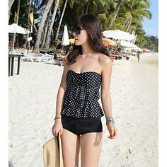 Women's Classic Black and White Points Lovely. Cheap Swimsuits, Tankini Swimsuits For Women, Two Piece Swimsuits, Swimwear 2014, Swimwear Fashion, Bandeau Tankini, Spandex, Beach Dresses, Outfits