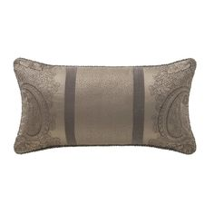 A mink matte satin with a paisley embroidery, accented with bands of a woven menswear inspired suiting fabric. Pillow edges smartly finished with a corded trim in a mocha color. Paisley Embroidery, Waterford Bedding, Mocha Color, Pillows Online, Queen Comforter Sets, Bedding Collections, Mens Gift Sets, Lumbar Pillow, Baby Shop