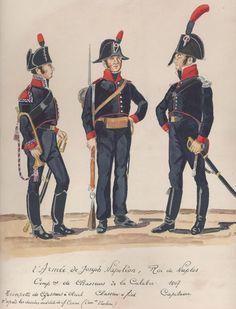 Naples; Companies of Chasseurs de la Calabre, Chasseurs a Cheval Trumpeter, Chasseur a Pied & Captain, 1807 by H.Boisselier