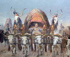 Arpad's wife escorted by other members of the Clan of the Wolf, descendants of Atilla the Hun.