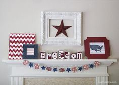 DIY 4th of July mantel + Silhouette discount & giveaway!