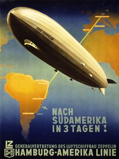 TRAVEL TOURISM AIRSHIP ZEPPELIN GERMANY SOUTH AMERICA FINE ART POSTER CC2916 | eBay