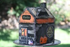 Halloween House Mix Media Orange Black Text Witch. $38.50, via Etsy.