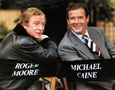 Michael Caine and Roger Moore on the set of BULLSEYE! (1990)