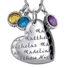 Pendant with Children's names and birthstones.  Love it!