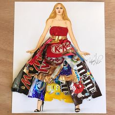 Candy wrappers couture👌🏼 Well i know these are something that we use do Throw as trash, but i decided to make it into art. Arte Fashion, 3d Fashion, Look Fashion, Fashion Design Drawings, Fashion Sketches, Mode Collage, Fashion Illustration Dresses, Fashion Illustration Collage, Trash Art