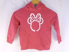 Minnie Mouse Pink Girl's 3-4 Sweatshirt Sweater Hooded Long Sleeve W/Pockets EUC #UT #EverydayHoliday