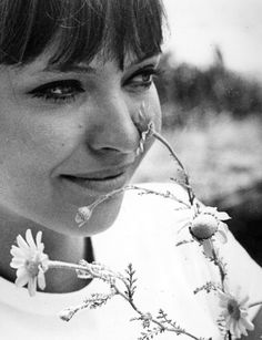 Anna Karina on the set of Pierrot le Fou, directed by Jean-Luc Godard, 1965