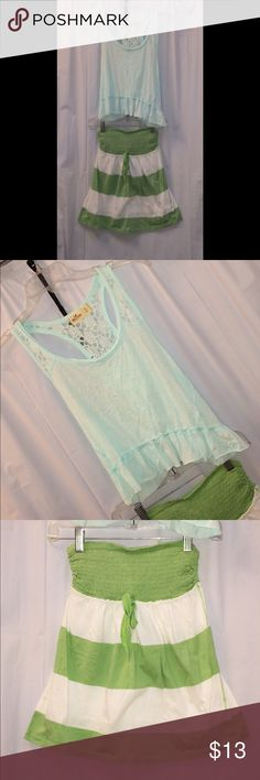 2 Hollister Gorgeous Green tops Sz Small 2 Gorgeous green Hollister chops in great condition !!!! 1 Pastel mint green slightly sheer Cropped Tank top Racer back & straps feature pretty White lace detail Ruffle detail trims the bottom 2 M&M Green and white striped baby doll top Elastic on the top Strapless Hollister Tops Tunics