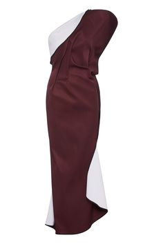 Deep plum makes a return on this signature Maticevski concept. A one-shoulder neckline allows the beauty of draped folds and a sculptural back to shine on the Distinct Cocktail Dress. Contrasting white lining curls away to reveal a dynamic colour contrast.