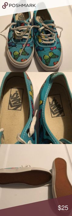 Vans Gently used great condition butterflies scuba blue vans. Little dirt on the white part Vans Shoes Sneakers