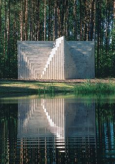 "roomonfiredesign:  'Double Negative Pyramid', Europos Parkas Open Air Museum, Lithuania, 1999 by American artist Solomon ""Sol"" LeWitt (September 9, 1928 – April 8, 2007). LeWitt was linked to various movements, including Conceptual art and Minimalism and rose to fame in the late 1960s with his wall drawings and ""structures"" (a term he preferred instead of ""sculptures""), but was prolific in a wide range of media including drawing, printmaking, photography, and painting. He has been the ..."