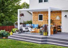 Pergola Attached To House, Pergola With Roof, Pergola Shade, Small Deck Designs, Pergola Designs, Pergola Ideas, Decking Ideas, Porch Ideas, Patio Design