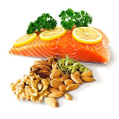 Sources of Omega 3, like salmon, walnuts and other fish, nuts and seeds, may help reduce inflammation and blood clotting, lower cholesterol, prevent cancer cell growth, improve the body's ability to respond to insulin and helps regulate food intake, body weight and metabolism