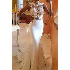 Alluring Round Collar Sleeveless Spliced See-Through Women's Maxi Dress
