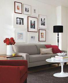 love these colors for my second living room... maybe gray walls and black furniture with pops of red