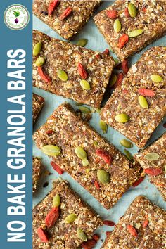 These no-bake granola bars are energy boosters and full of plant based protein and carbs for workout recovery #energybars #nobakegranolabars Whole Food Recipes, Vegan Recipes, Snack Recipes, Super Green Smoothie, Raw Almond Butter, Raw Cacao Nibs, Roasted Garlic Hummus, No Bake Granola Bars, Plant Based Snacks