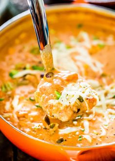 This Creamy Cheesy Chicken Enchilada Soup is a fiesta of flavors full of chunks of chicken, black beans, corn and diced tomatoes, for a complete satisfying and comforting bowl of soup.for full recipes. Vegan Enchiladas, Cheesy Chicken Enchiladas, Crockpot Chicken Enchilada Soup, Cheesy Chicken Tortilla Soup, Chicken Casserole, Cheese Enchilada Soup Recipe, Cheesey Chicken, Cheese Enchiladas, Enchilada Recipes