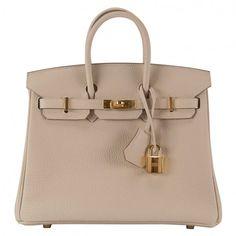 Pre-Owned Hermes Handbag Birkin 25 Togo Craie Gold Hardware 2015. ($17,613) ❤ liked on Polyvore featuring bags, handbags, colorful purses, multi colored handbags, pre owned handbags, leather handbags and beige leather handbags