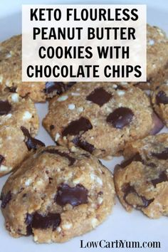 An easy recipe for low carb keto flourless peanut butter chocolate chip cookies. Use any nut or seed butter in the recipe if you don't like peanuts.   LowCarbYum.com